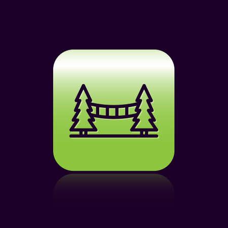 Black line Capilano Suspension Bridge in Vancouver, Canada icon isolated on black background. Green square button. Vector 向量圖像