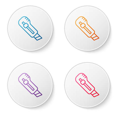 Color line Stationery knife icon isolated on white background. Office paper cutter. Set icons in circle buttons. Vector 向量圖像