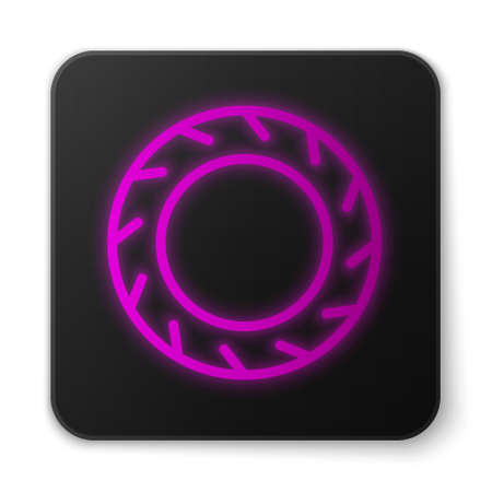 Glowing neon line Bicycle wheel tire icon isolated on white background. Bike race. Extreme sport. Sport equipment. Black square button. Vector