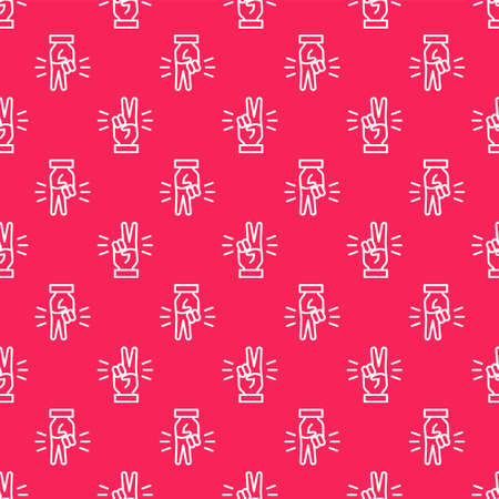 White line Hand showing two finger icon isolated seamless pattern on red background. Victory hand sign. Vector 向量圖像
