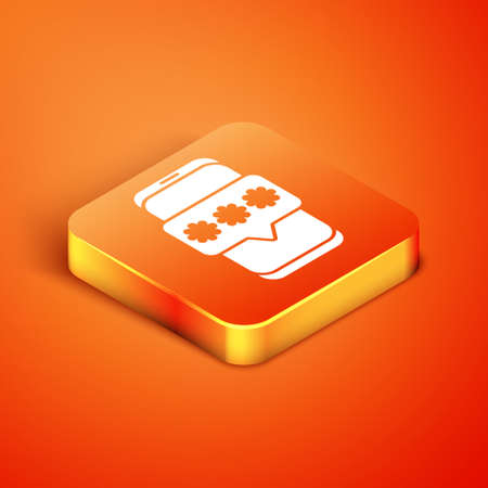Isometric Mobile and password protection icon isolated on orange background. Security, safety, personal access, user authorization, privacy. Vector Illustration