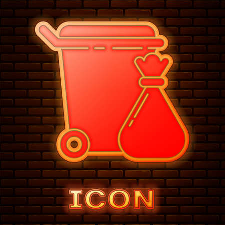 Glowing neon Trash can and garbage bag icon isolated on brick wall background. Garbage bin sign. Recycle basket icon. Office trash icon. Vector Illustration Ilustração