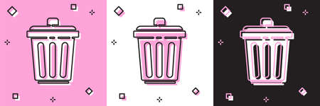 Set Trash can icon isolated on pink and white, black background. Garbage bin sign. Recycle basket icon. Office trash icon. Vector Illustration Ilustração