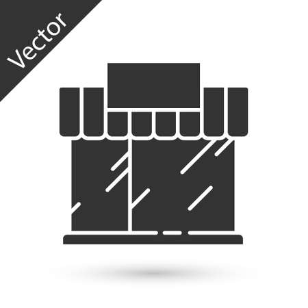 Grey Shopping building or market store icon isolated on white background. Shop construction. Vector Illustration