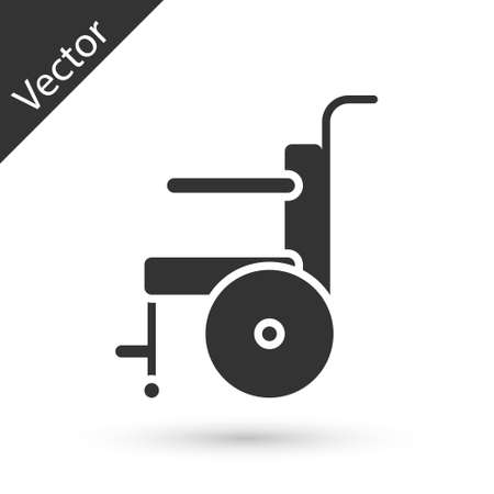 Grey Wheelchair for disabled person icon isolated on white background. Vector Illustration Stock Illustratie