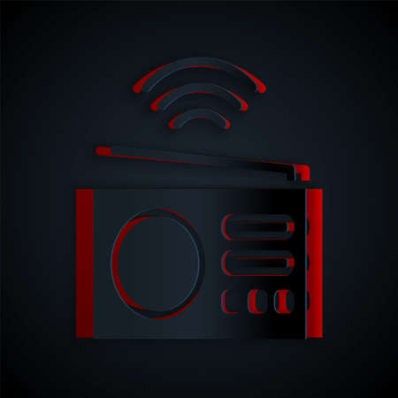Paper cut Smart radio system icon isolated on black background. Internet of things concept with wireless connection. Paper art style. Vector