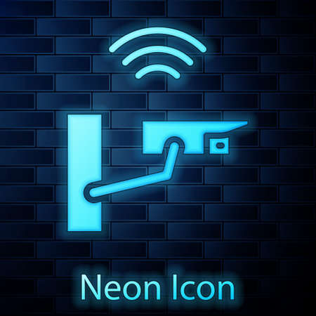 Glowing neon Smart security camera icon isolated on brick wall background. Internet of things concept with wireless connection. Vector