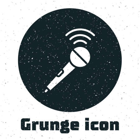 Grunge Wireless microphone icon isolated on white background. On air radio mic microphone. Speaker sign. Monochrome vintage drawing. Vector Çizim