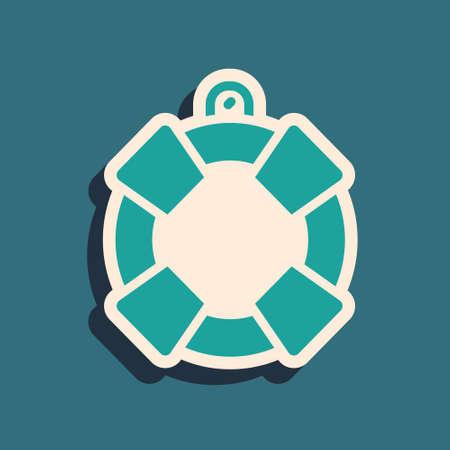 Green Lifebuoy icon isolated on green background. Lifebelt symbol. Long shadow style. Vector Ilustração