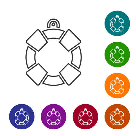 Black line Lifebuoy icon isolated on white background. Lifebelt symbol. Set icons in color circle buttons. Vector