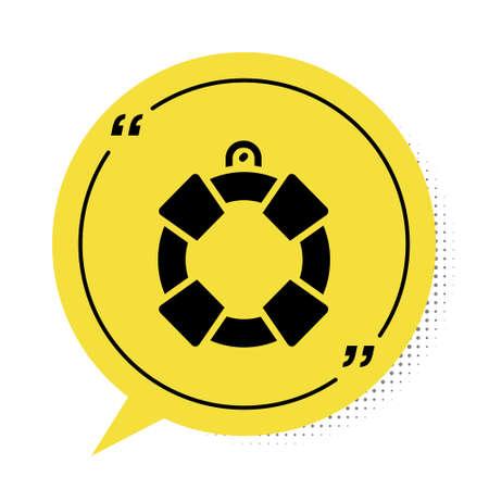Black Lifebuoy icon isolated on white background. Lifebelt symbol. Yellow speech bubble symbol. Vector