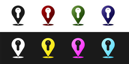 Set Location key icon isolated on black and white background. The concept of the house turnkey. Vector