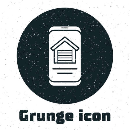 Grunge Online real estate house on smartphone icon isolated on white background. Home loan concept, rent, buy, buying a property. Monochrome vintage drawing. Vector Ilustração