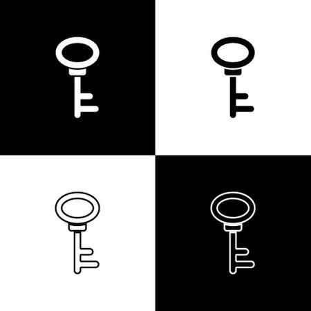 Set House key icon isolated on black and white background. Vector Ilustração