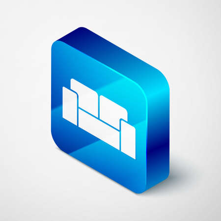 Isometric Sofa icon isolated on grey background. Blue square button. Vector Stock Illustratie