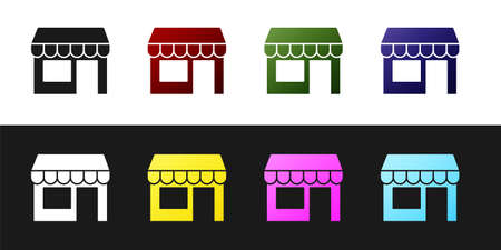 Set Shopping building or market store icon isolated on black and white background. Shop construction. Vector Ilustração