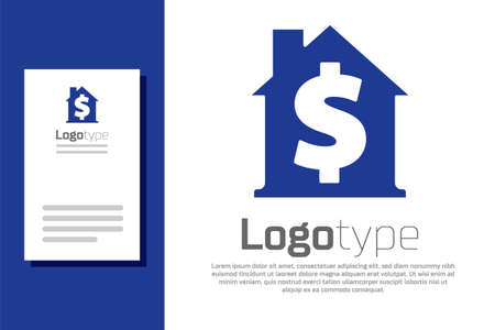Blue House with dollar symbol icon isolated on white background. Home and money. Real estate concept. Design template element. Vector