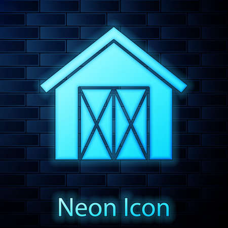 Glowing neon Farm house icon isolated on brick wall background. Vector