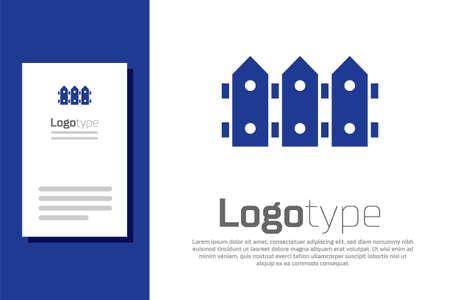Blue Garden fence wooden icon isolated on white background. Design template element. Vector Ilustração
