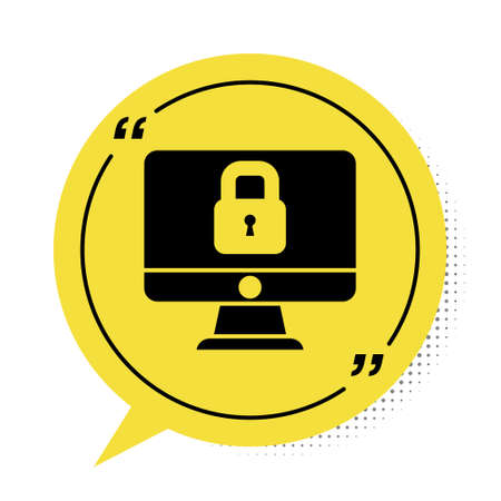 Black Lock on computer monitor screen icon isolated on white background. Security, safety, protection concept. Safe internetwork. Yellow speech bubble symbol. Vector