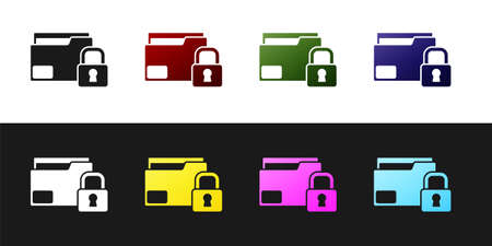 Set Folder and lock icon isolated on black and white background. Closed folder and padlock. Security, safety, protection concept. Vector Ilustração