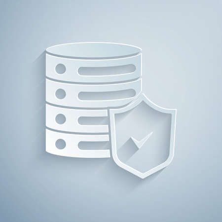 Paper cut Server with shield icon isolated on grey background. Protection against attacks. Network firewall, router, switch, data. Paper art style. Vector