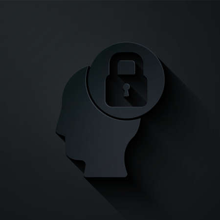 Paper cut Human head with lock icon isolated on black background. Paper art style. Vector