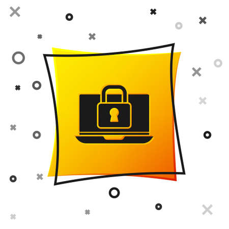 Black Laptop and lock icon isolated on white background. Computer and padlock. Security, safety, protection concept. Safe internetwork. Yellow square button. Vector
