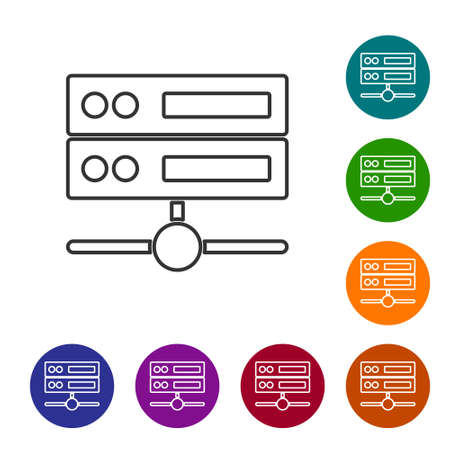 Black line Server, Data, Web Hosting icon isolated on white background. Set icons in color circle buttons. Vector