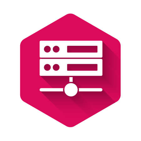 White Server, Data, Web Hosting icon isolated with long shadow. Pink hexagon button. Vector Ilustração