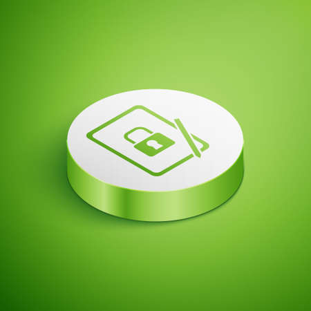 Isometric Graphic tablet with closed padlock icon isolated on green background. Phone with lock. Mobile security, safety, protection concept. White circle button. Vector