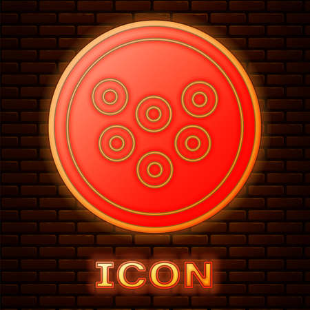 Glowing neon Caviar on a plate icon isolated on brick wall background. Vector.