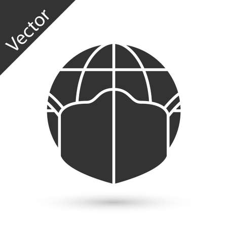 Grey Earth globe with medical mask icon isolated on white background. Vector.
