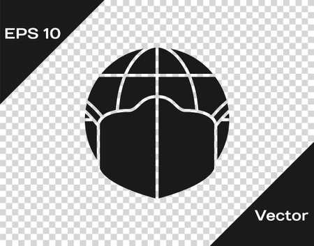 Black Earth globe with medical mask icon isolated on transparent background. Vector.