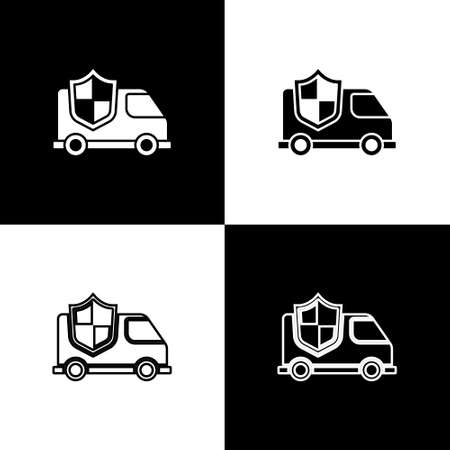 Set Car with shield icon isolated on black and white background. Insurance concept. Security, safety, protection, protect concept. Vector. Ilustração