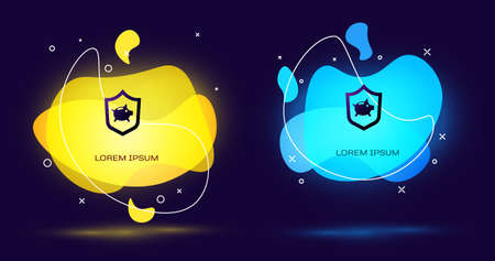 Black Piggy bank with shield icon isolated on black background. Saving or accumulation of money, investment. Insurance concept. Abstract banner with liquid shapes. Vector.