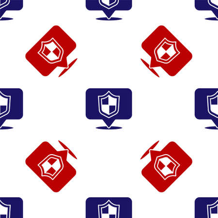 Blue and red Location shield icon isolated seamless pattern on white background. Insurance concept. Guard sign. Security, safety, protection, privacy concept. Vector. Illustration