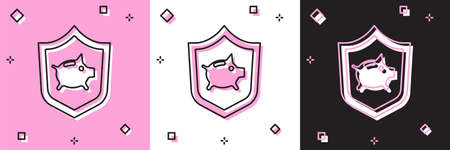 Set Piggy bank with shield icon isolated on pink and white, black background. Saving or accumulation of money, investment. Insurance concept. Vector.
