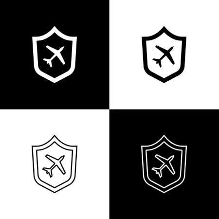 Set Plane with shield icon isolated on black and white background. Flying airplane. Airliner insurance. Security, safety, protection, protect concept. Vector. Ilustração