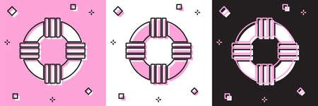 Set Lifebuoy icon isolated on pink and white, black background. Lifebelt symbol. Vector.
