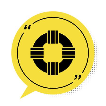Black Lifebuoy icon isolated on white background. Lifebelt symbol. Yellow speech bubble symbol. Vector.