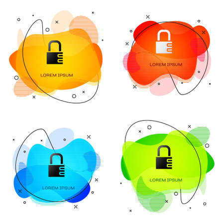 Black Safe combination lock icon isolated on white background. Combination padlock. Security, safety, protection, password, privacy. Abstract banner with liquid shapes. Vector