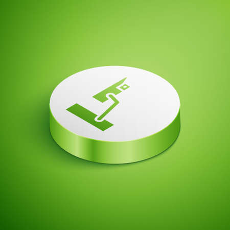Isometric Security camera icon isolated on green background. White circle button. Vector