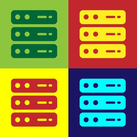 Pop art Server, Data, Web Hosting icon isolated on color background. Vector
