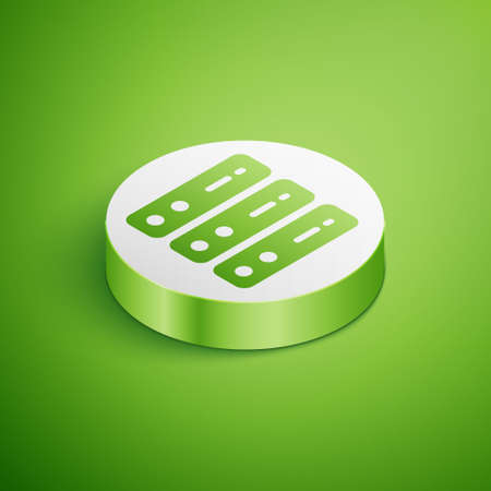 Isometric Server, Data, Web Hosting icon isolated on green background. White circle button. Vector