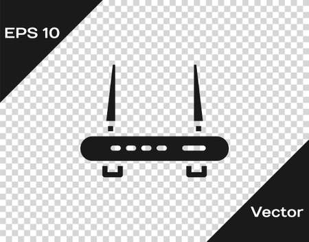 Black Router and wifi signal icon isolated on transparent background. Wireless modem router. Computer technology internet. Vector