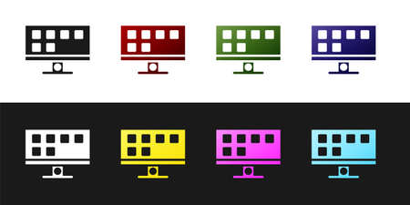 Set Smart Tv icon isolated on black and white background. Television sign. Vector Çizim