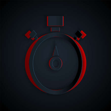 Paper cut Stopwatch icon isolated on black background. Time timer sign. Chronometer sign. Paper art style. Vector Çizim