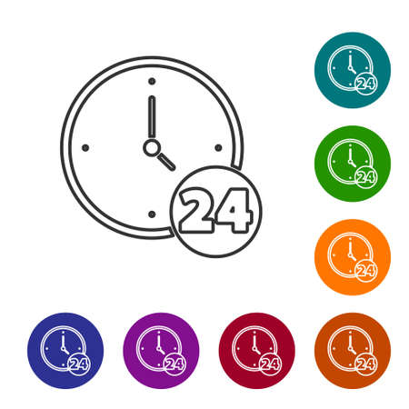 Black line Clock 24 hours icon isolated on white background. All day cyclic icon. 24 hours service symbol. Set icons in color circle buttons. Vector