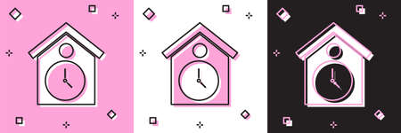 Set Retro wall watch icon isolated on pink and white, black background. Cuckoo clock sign. Antique pendulum clock. Vector
